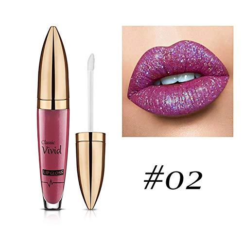 Xiton Pintalabios 1 pieza Metálico Brillante Brillo de labios para mujer de labios de larga duración del maquillaje brillo de labios a prueba de agua de glaseado Pintalabios(2)