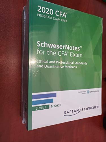 2020 CFA Level 1 Kaplan Schweser Notes: Books 1-5, Practice Exam Vol 1-2, QuickSheet