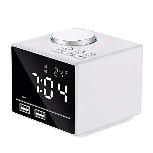 OOLIFENG digitale wekkerradio met dubbele USB-oplaadpoorten, dimbaar LCD-display en snooze voor slaapkamer, wit