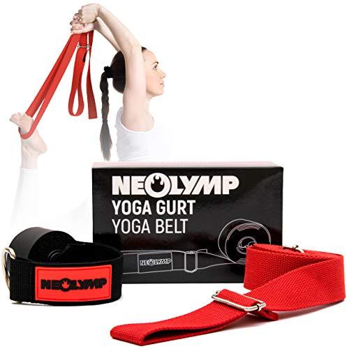 NEOLYMP Premium Yogagurt aus 100{e124dfa098c54285c48add64c5e4d4e08eb8c1b5179a2238a0987f1c3747297d} Reiner Bio Baumwolle und hochwertigen Metallverschlüssen für Yoga, Yogaband, Yoga Strap (rot)