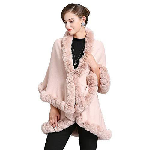 LIULIFE Poncho De Capa para Mujer Cuello De Piel De Zorro Sintético Cárdigan De Punto Abrigo De Doble Capa Capa De Longitud Media Otoño Invierno Chal Suelto,Pink-OneSize