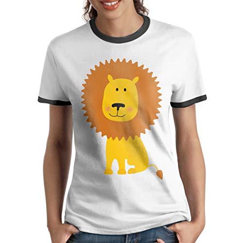 Yellow Lion Graphics Womens Short Sleeve Contrast T Shirt Tee Sports(XXL,Black)