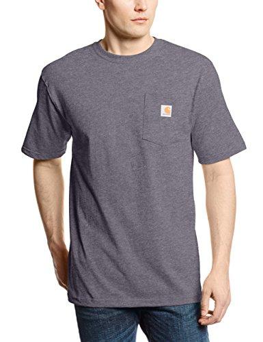 Carhartt Work Wear Pocket Short-Sleeve T-Shirt, Carbonio Heather, L Uomo