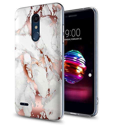 GORGCASE Phone Case Compatible for LG K10 (2017) Case, K20 Plus/M250,LG LV5,Slim Anti-Scratch PC TPU Armor Shockproof Cute Bling Girls Women Protective Cover for LG K20 V Marble Rose Gold White