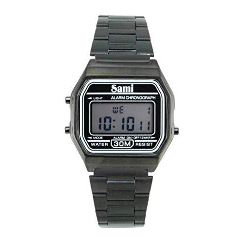 SAMI-RSD78856N Reloj de Pulsera Sami Digital con Carcasa y Correa de Metal Negro Estilo Retro.