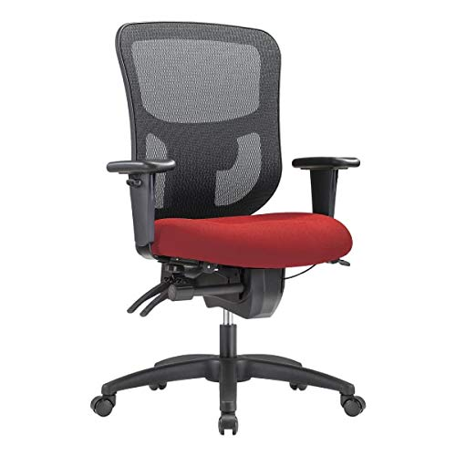 WorkPro 9500XL Big and Tall Fabric/Mesh Mid-Back Multifunction Chair, Cherry/Black