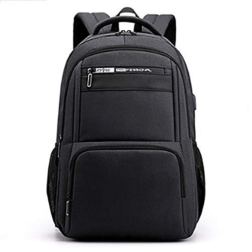 HS-LAMP Laptop Backpack, Anti-Theft Business Travel Work Computer Rucksack with USB Charging Port, 15.6 Inch Large Lightweight College High School Bag for Men (Color : Black)