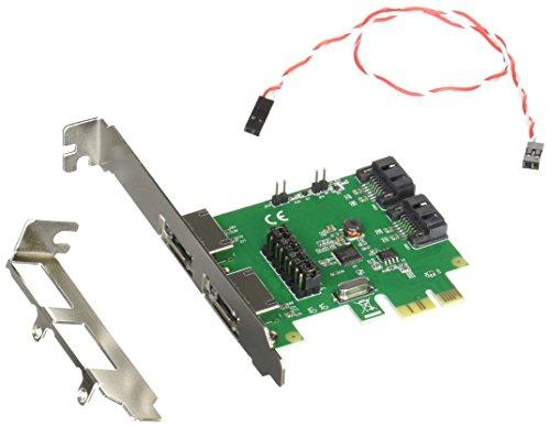 エアリア TWIN TURBO HYBRID TYPEB PCI Express x1 接続 Asmediaチップ搭載 SATA3 eSATA2ポート 内部SATA2ポート ジャンパー切替 最大同時使用可能2ポート SD-PESA3ES2L