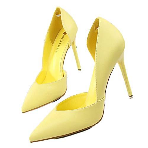 Zapatos de salón para Mujer, Tacones Altos, Tacones de Aguja, Fiesta, Oficina, Boda, Puntiagudos, Zapatos de Cuero Poco Profundos, Transpirables