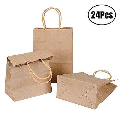 LuLyL - Bolsas Papel Kraft asa 15 x 8 x 21 cm, 24
