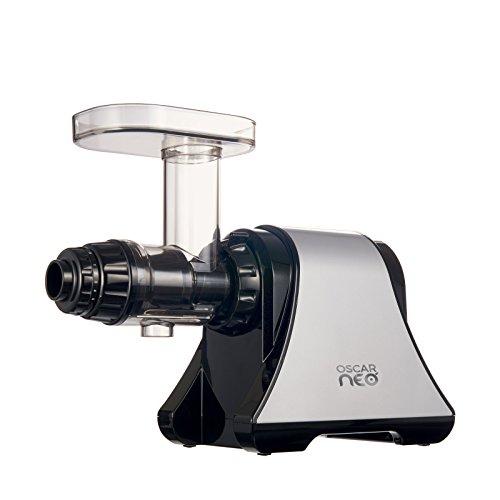 Neo DA 1200 Entsafter Slow Juicer - Horizontaler Entsafter für Sellerie, Weizengras, Früchte, Gemüse - maximale Nährstoffe, leiser Motor, Sorbet, Pasta & Dips herstellen - BPA-frei (Silber)