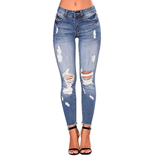 Uusollecy Damen Skinny Jeans Rissen Löcher Ankle Jeanshosen