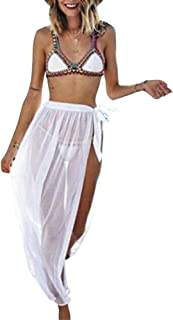 EpicLife Dam sexig baddräkt slips sidoslitswrap badkläder täcker upp genomskinliga maxi strandkjolar