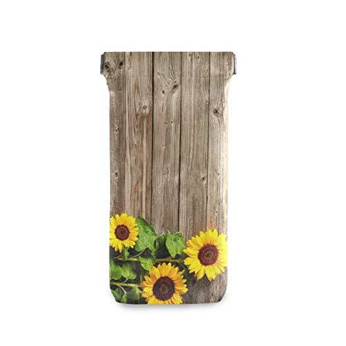 linomo - Funda para gafas de sol de verano, diseño de girasol, madera, microfibra, piel, bolsa de almacenamiento para gafas y teléfonos móviles
