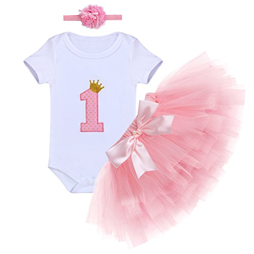Baby Girls First Birthday Clothes One-Piece Bodysuit 1st Crown Romper+Ruffle Tulle Skirt+Bowknot Headband 3PCS Set Toddler Infant Smash Cake Outfits for Casual Photo Shoot Pink Age 1 Year Old