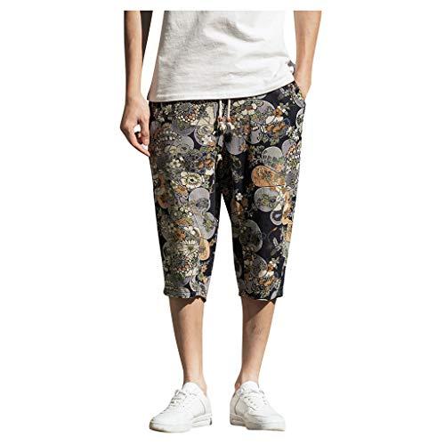 Harem Baumwoll Leinen Pyjama mit weitem Bein für Herren lose kurz geschnittene Hose Large size cotton and linen national wind harem pants cropped trousers Schwarz M/L/XL/XXL/3xL/4xL/5XL