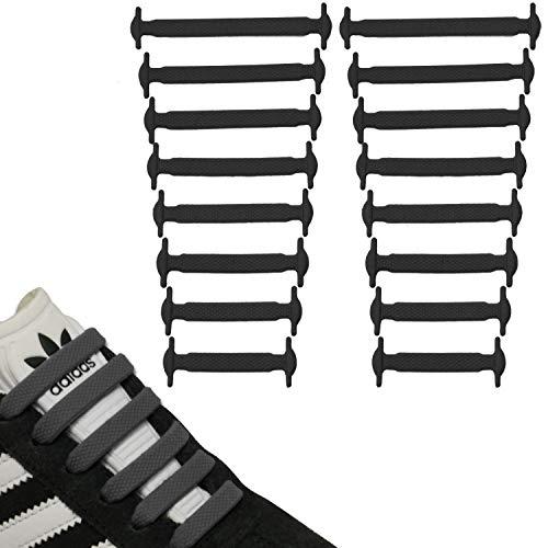 JANIRO Elastische Silikon Schnürsenkel flach | flexible schleifenlose Schuhbänder ohne Binden | Kinder & Erwachsene - Schwarz
