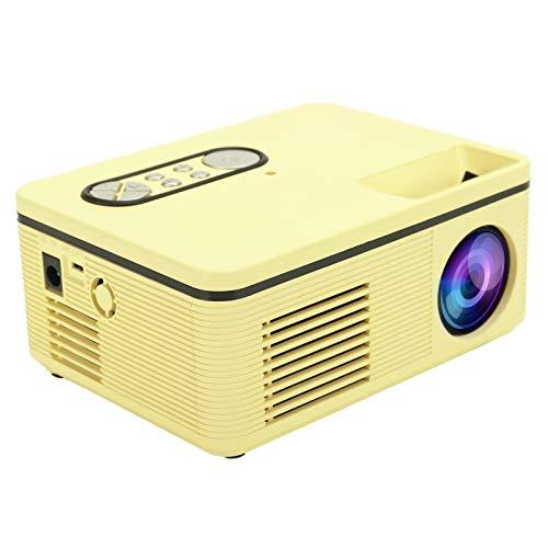 Proyector, Mini proyector de Cine en casa multifunción portátil HDMI 1080P con LED, 100-240 V, para Reproducir películas, TV y Videojuegos, Compatible con Android/iOS(Amarillo de la UE)