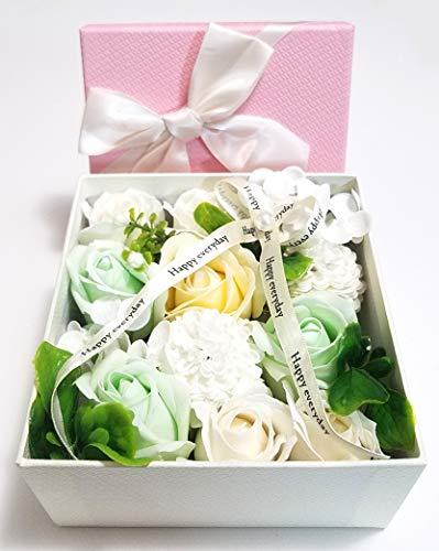 Fancy Flora - Jabón de baño perfumado con flores de aceite esencial de plantas y clavel en caja de regalo, regalo para aniversario, cumpleaños, boda, día de San Valentín, día de la madre, color blanco