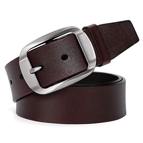JasGood Cinturón occidental de diseñador de hombres para hombres vestido cinturón de cuero con hebilla de pasador de correa de cuero de grano