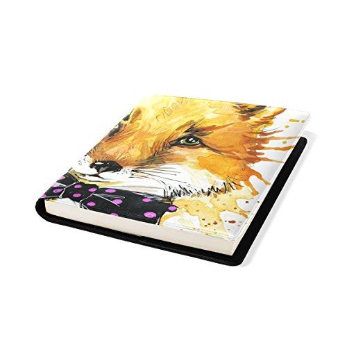 COOSUN Drôle Fox avec Aquarelle Splash Background Book Cover Sox Stretchable Livre, La Plupart des Fits Relié jusqu'à 9 manuels x 11. adhésif Gratuit, PU Leather School Book Protector 9 x 11 Pouces