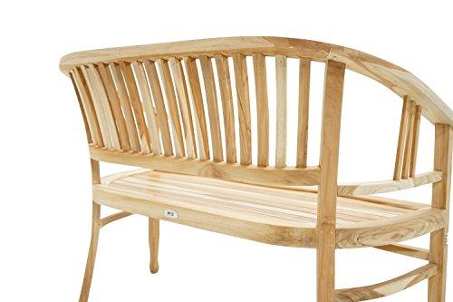 Ploß Ploß Sitzbank New Orleans 120 cm - Holz-Gartenbank für 2 Personen - Balkonbank halbrund mit Armlehnen & Rückenlehne - Massivholzbank mit SVLK-Zertifikat - Bank aus Teakholz - Terrassenbank geschwungen