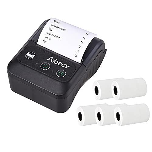 Bisofice Impresora térmica de recibos portátil inalámbrica BT 58mm 2 pulgadas Mini USB Bill POS Impresora móvil con 5 rollos de papel térmico compatible con Android/iOS/Windows