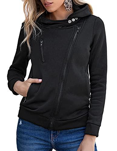 MUMZUGI Felpa Donna con Cappuccio Cappotto Invernale Giacca Hoodies Sweatshirt Casual Outwear Nero L