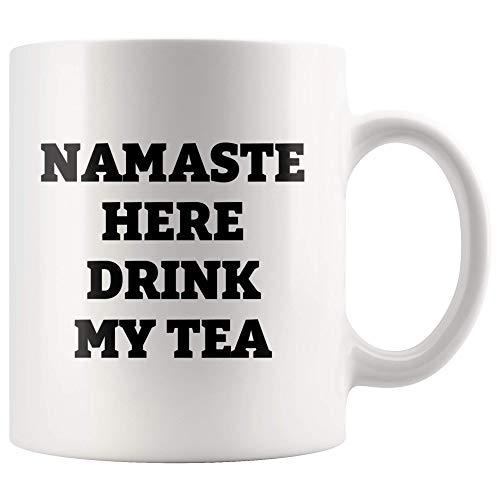 WTOMUG Namaste Here Drink My Tea Relaxation Self-Care Meditation And Spiritual Gifts For Women Yoga Statement Theme Ceramic Coffee Mug 11 oz