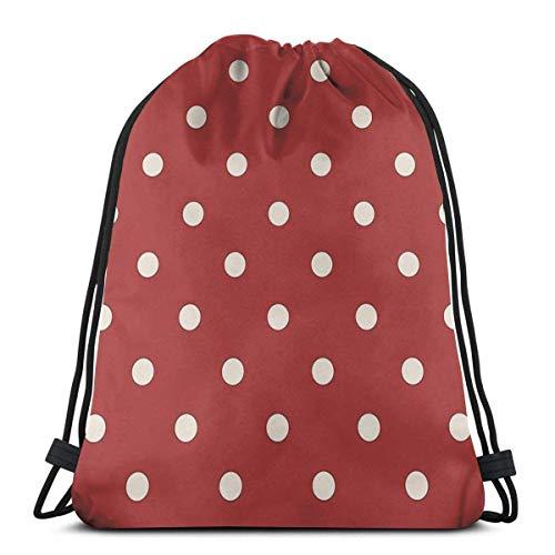 XCNGG Red Polka Dot Pattern Waterproof Foldable Sport Sackpack Gym Bag Sack Drawstring Backpack