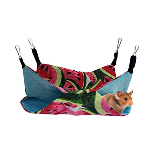 Pet Small Animal Hanging Hammock for Ferret Hammock Bed Luxury Double Bunkbed Hammock Toy for Hamster Parrot Rat Guinea-Pig Mice Chinchilla Flying Squirrel Sleep Nap Sack Cage Swinging Bed Hideout