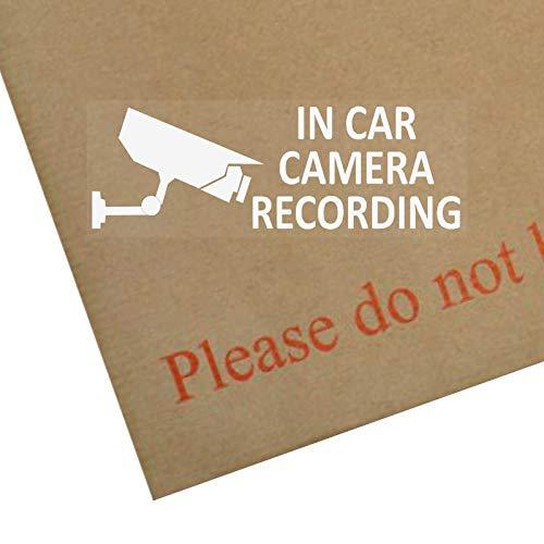5 x en voiture caméra d'enregistrement de l'appareil photo avec fenêtre Stickers- 30 x 87 mm mm Blanc/transparent-CCTV signe Van, Camion, Bus Taxi, camion, Mini cabine Minicab, de sécurité pour Go Pro, caméra