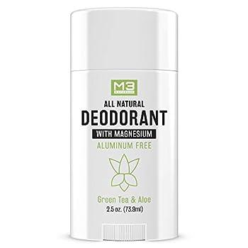 M3 Naturals - Natural Deodorant for Women and Men - Vegan Gluten Free Cruelty Free - Contains Magnesium - Aluminum Free Paraben Free Sulfate Free - Organic Coconut Oil Green Tea and Aloe 2.5 oz