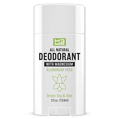 M3 Naturals Natural Deodorant with Magnesium, Green Tea and Aloe - Long-Lasting, Non-Toxic, Free of Aluminum, Baking Soda, Parabens, Sulfates and Gluten – For Men and Women - Vegan, Organic 2.5 oz