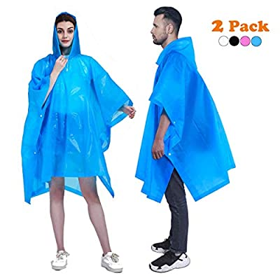 HLKZONE Rain Ponchos for Adults, EVA Reusable Raincoats Emergency Camping Survival Kits for Outdoors, 2 Pack (B-Blue)