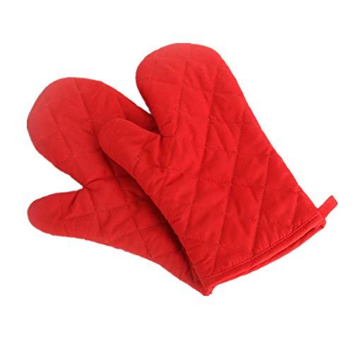 Voarge Ofenhandschuhe, Hitzebeständig Ofenhandschuhe Verdickte Hitzeresistente Topfhandschuhe Topflappen Backhandschuhe, 1 Paar Rot