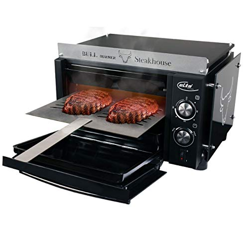 ELTA Bull Burner Steakhouse Premium Hochtemperatur Grill Elektrogrill 2000 Watt BBQ Indoor Steak Oberhitze Grill 800°C