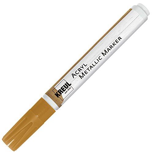 Kreul 46261 - Acryl Metallic Marker Medium, permanente Acrylfarbe mit Metalliceffekt, für filigrane Akzente, mit Rundspitze ca. 2 - 4 mm, gold