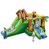 DREAMADE Château Gonflable pour Enfants, Aire de Jeux Gonflable avec Toboggan, Piscine, Trampoline, Accessoires Riches & Motif de Kangourou, pour Enfants de 3 à 10 Ans