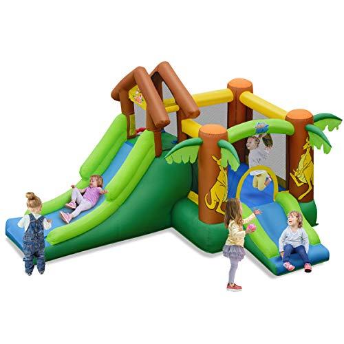 DREAMADE Château Gonflable pour Enfants, Aire de Jeux Gonflable avec Toboggan, Piscine,...