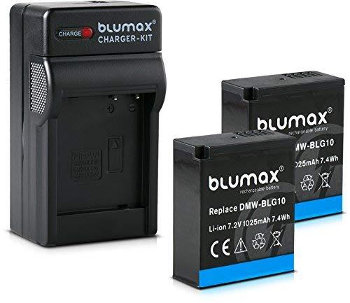 Blumax 2X Akku 1025mAh + Ladegerät Netzteil ersetzt Panasonic DMW-BLG10 e kompatibel mit Lumix DC GX9 TZ202 TZ91 DMC TZ101 TZ81 GF6 GX7 GX80 LX100 G110
