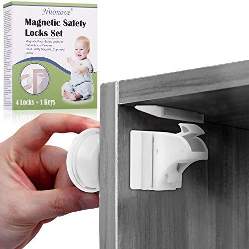 Blocca Cassetti per Bambini, Chiusure Sicurezza Bambini, Kit Sicurezza Bambini, Blocca Cassetti per Bambini Magnetici, Più Facile da installare Funzione con 3M Adesivo (4 chiusure + 1 chiave)