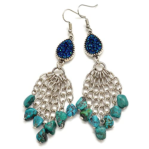 3.5 Virginia Beach Mall inch Western Dangle Drop Beaded Turquoise from on Earrings S Nashville-Davidson Mall