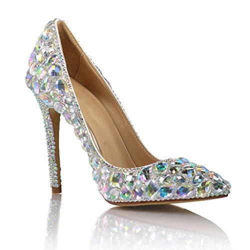 CHX Mode hochhackige Schuhe Bunte Glas Diamant Hochzeit Kleid Stiletto zeigte sexy Catwalk Schuhe (Farbe : Colorful Diamond, größe : 40)