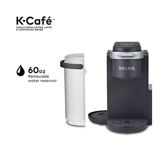 Keurig K-Cafe Coffee Maker, Single Serve K-Cup Pod Coffee, Latte and Cappuccino Maker, Comes with Dishwasher Safe Milk… 9 COFFEE, LATTES & CAPPUCCINOS: Use any K-Cup pod to brew coffee, or make delicious lattes and cappuccinos. SIMPLE BUTTON CONTROLS: Just insert any K-Cup pod and use the button controls to brew delicious coffee, or make hot or iced lattes and cappuccinos. LARGE 60oz WATER RESERVOIR: Allows you to brew 6 cups before having to refill, saving you time and simplifying your morning routine. Removable reservoir makes refilling easy.