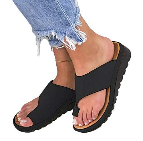 AARDIMI Sandalen Damen Frauen Flip Flops Kreuzband Geflochtene Sandalen Roman Schuhe Sommer Woven Strap Mode Strand Hausschuhe Flacher Anti Rutsch (40 EU, Z-Schwarz)