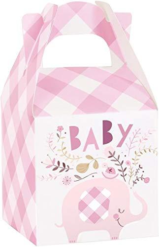 Unique 78389 Elephant Gingham - Cajas de regalo para baby shower (8 unidades), color rosa