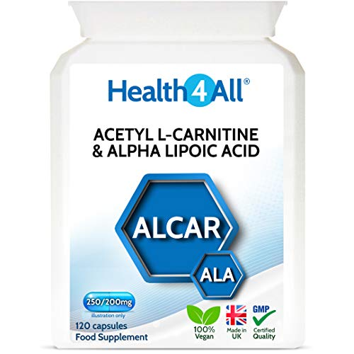 Acetyl L-Carnitine 250mg & Alpha Lipoic Acid 200mg 120 Capsules (V) Vegan ALCAR ALA Capsules. Made by Health4All
