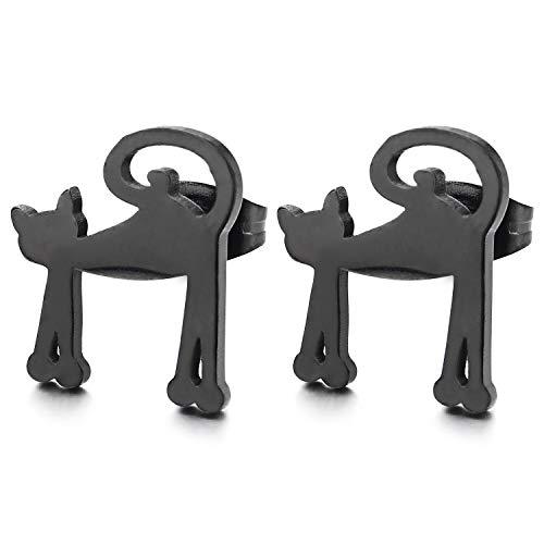 Negro Gato Pendientes de Hombres Mujer, Acero Inoxidable, Unico, 2 Piezas