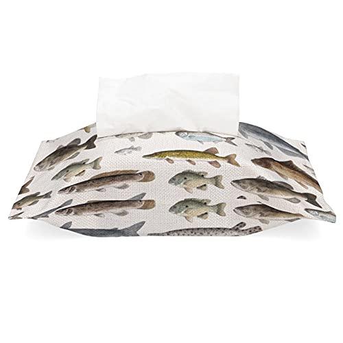 Soporte de caja de pañuelos de lino de algodón, algunos peces de agua dulce extraíble dispensador de pañuelos para oficina, sala de estar, encimera de tocador de baño